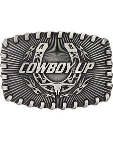 Montana Silversmiths Stitched Edge Radiating Cowboy Up Attitude Belt Buckle