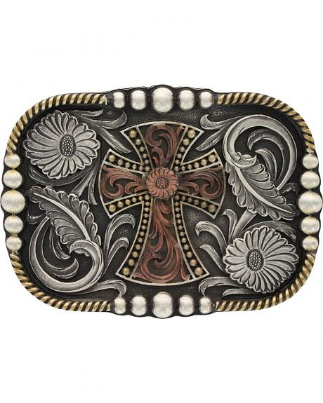 Montana Silversmiths Tri-Color Antiqued Western Deco Cross Attitude Belt Buckle