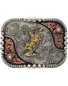 Montana Silversmiths Classic Impressions Tri-Color Bullrider Attitude Belt Buckle
