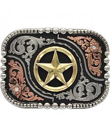 Montana Silversmiths Classic Impressions Tri-Color Lone Star Attitude Belt Buckle