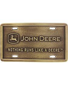 Montana Silversmiths John Deere Rectangular Brass Attitude Belt Buckle