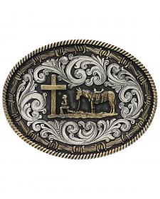 Montana Silversmiths Two-Tone Classic Impressions Christian Cowboy Attitude Belt Buckle