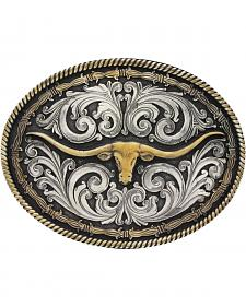Montana Silversmiths Barbed Wire Longhorn Classic Impressions Attitude Belt Buckle