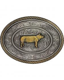 Montana Silversmiths Prize Pig Classic Impressions Attitude Belt Buckle
