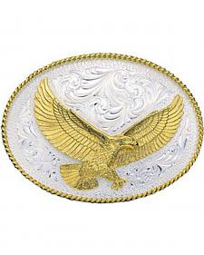 Montana Silversmiths Silver Engraved Large Eagle Western Attitude Belt Buckle