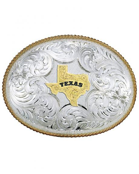 Montana Silversmiths Twisted Rope Texas Belt Buckle