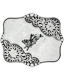 Montana Silversmiths Antiqued LeatherCut Blooms Bull Rider Belt Buckle