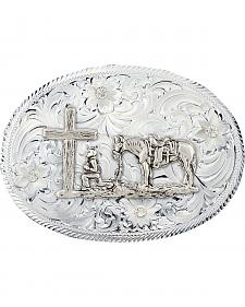 Montana Silversmiths Etched Trim Christian Cowboy Classic Belt Buckle