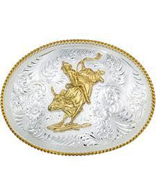 Montana Silversmiths Silver Engraved Large Bull Rider Western Attitude Belt Buckle