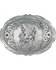 Montana Silversmiths True Blue Team Roper Portrait Western Belt Buckle