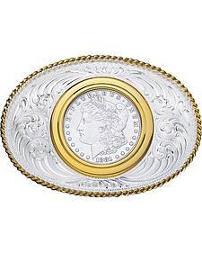 Montana Silversmiths Coin Holder Silver Dollar Western Belt Buckle