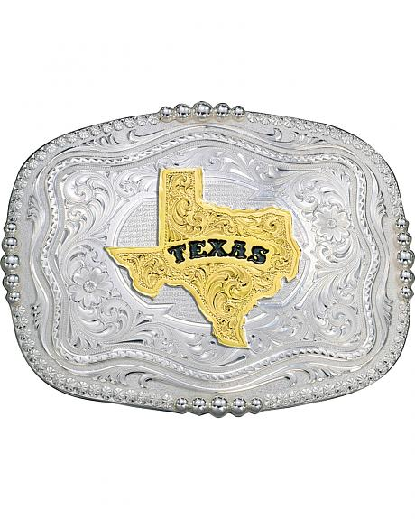 Montana Silversmiths Rounded Square Texas State Western Belt Buckle