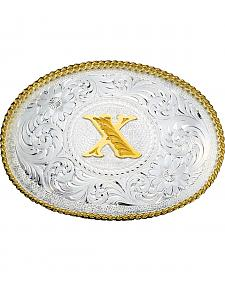 Montana Silversmiths Engraved Initial X Western Belt Buckle