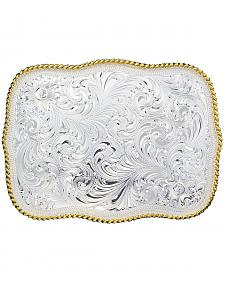 Montana Silversmiths Silver Engraved Scalloped Western Belt Buckle