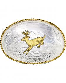 Montana Silversmiths Mountain Scene Running Deer Western Belt Buckle