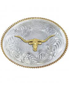 Montana Silversmiths 1350 Series German Silver Longhorn Western Belt Buckle