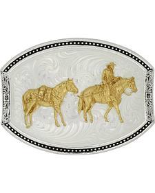 Montana Silversmiths Star Light Park Horse & Rider Belt Buckle