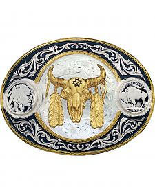 Montana Silversmiths Buffalo Nickel & Ceremonial Skull Western Belt Buckle