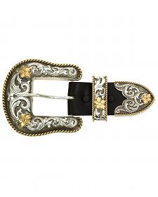 Montana Silversmiths Antiqued Two-Tone Filigree 3-Piece Belt Buckle Set