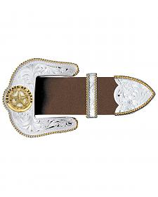 Montana Silversmiths Texas Star Silver Engraved Gold Trim 3-Piece Belt Buckle Set