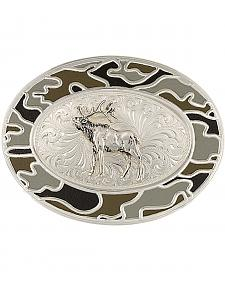 Montana Silversmiths Silver-Tone Winter Camo with Elk Belt Buckle