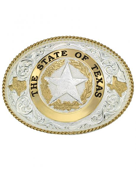 Montana Silversmiths State of Texas Star Seal Western Belt Buckle