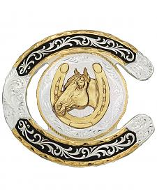 Montana Silversmiths Horseshoe Western Belt Buckle