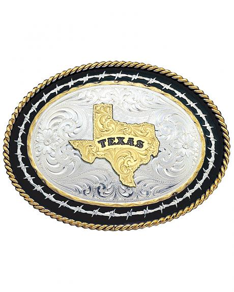 Montana Silversmiths Barbed Wire Texas State Western Belt Buckle