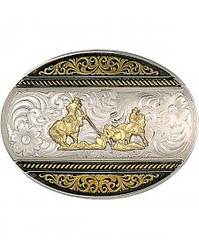 Montana Silversmiths Deco Team Roper Western Belt Buckle