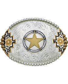 Montana Silversmiths Southwest Accent Round Star Concho Belt Buckle