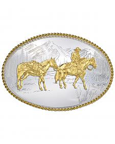 Montana Silversmiths Etched Mountains Pack Horse & Rider Western Belt Buckle
