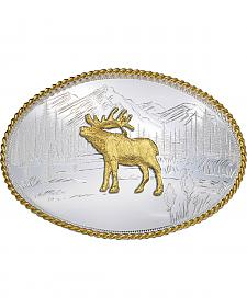 Montana Silversmiths Etched Mountains Elk Western Belt Buckle