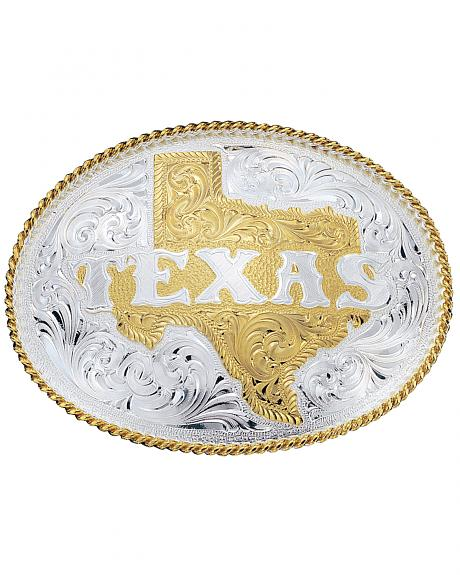 Montana Silversmiths Silver Engraved State of Texas Western Belt Buckle
