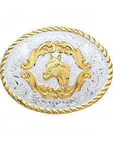 Montana Silversmiths Small Horsehead Western Belt Buckle