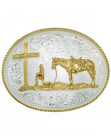 Montana Silversmiths Silver Engraved Christian Cowboy Western Belt Buckle