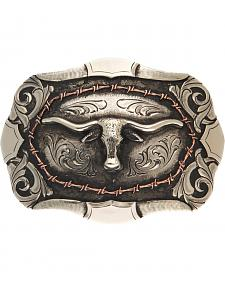 AndWest Bryce Vintage Two-Tone Steer Head Belt Buckle