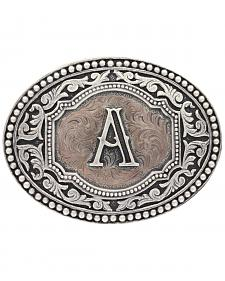"Montana Silversmiths Initial ""A"" Two Tone Cameo Buckle"