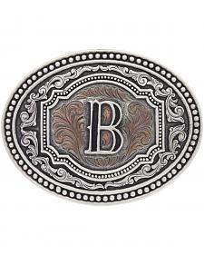 "Montana Silversmiths Men's Initial ""B"" Two-Tone Attitude Belt Buckle"
