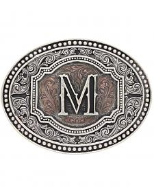 "Montana Silversmiths Men's Initial ""M"" Two-Tone Attitude Belt Buckle"