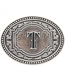 "Montana Silversmiths Men's Initial ""T"" Two-Tone Attitude Belt Buckle"
