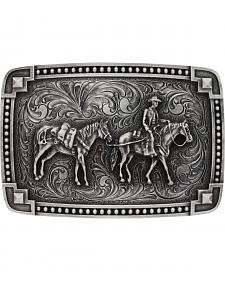Montana Silversmiths Men's Tied at the Corners Attitude Pack Horse Belt Buckle