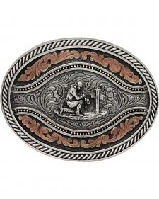 Montana Silversmiths Men's Praying Cowboy Classic Two Tone Attitude Channel Belt Buckle