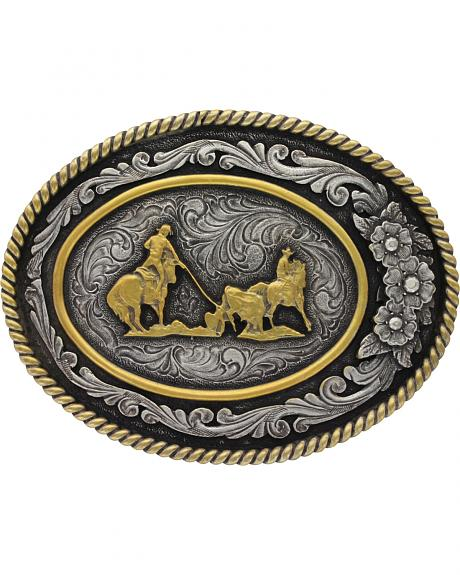 Montana Silversmiths Men's Classic Two Tone Three Flowers Cameo Team Roper Buckle
