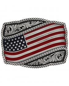 Montana Silversmiths Men's Classic Painted Waving Flag Buckle