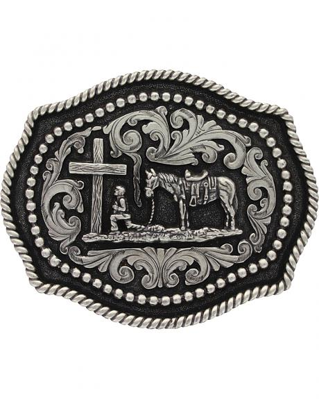 Montana Silversmiths Classic Twisted Rope & Studs Christian Cowboy Buckle
