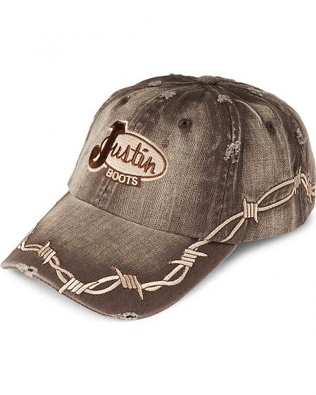 Justin Distressed Herringbone Barbwire Cap
