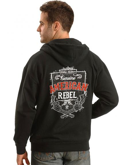 Cowboy Hardware American Rebel Black Zip-Up Hoodie