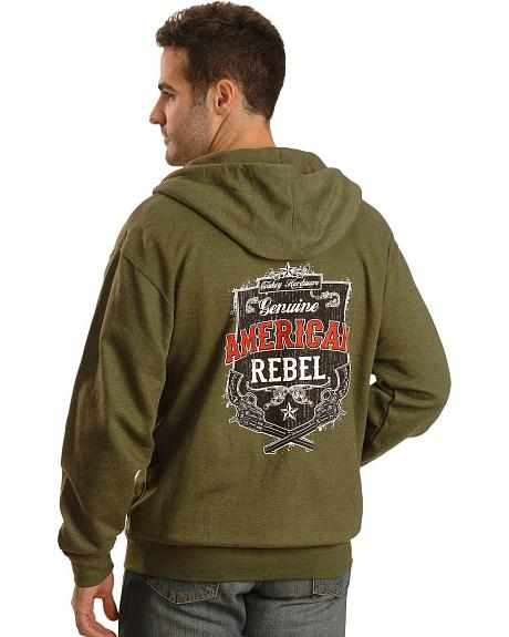 Cowboy Hardware American Rebel Green Zip-Up Hoodie