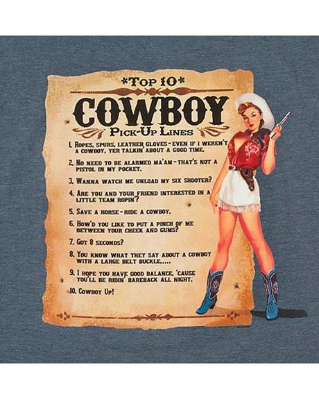 Blue Top 10 Cowboy Pick-Up Lines T-Shirt