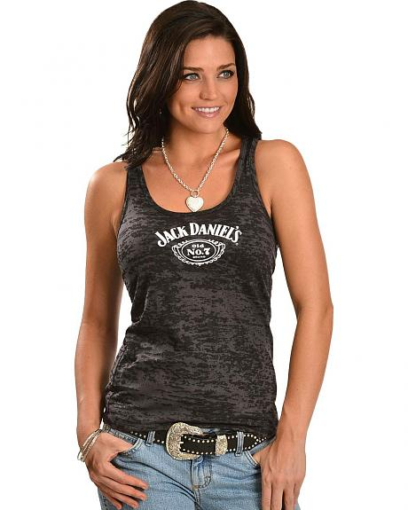 Jack Daniel's Black Burnout Racerback Tank Top